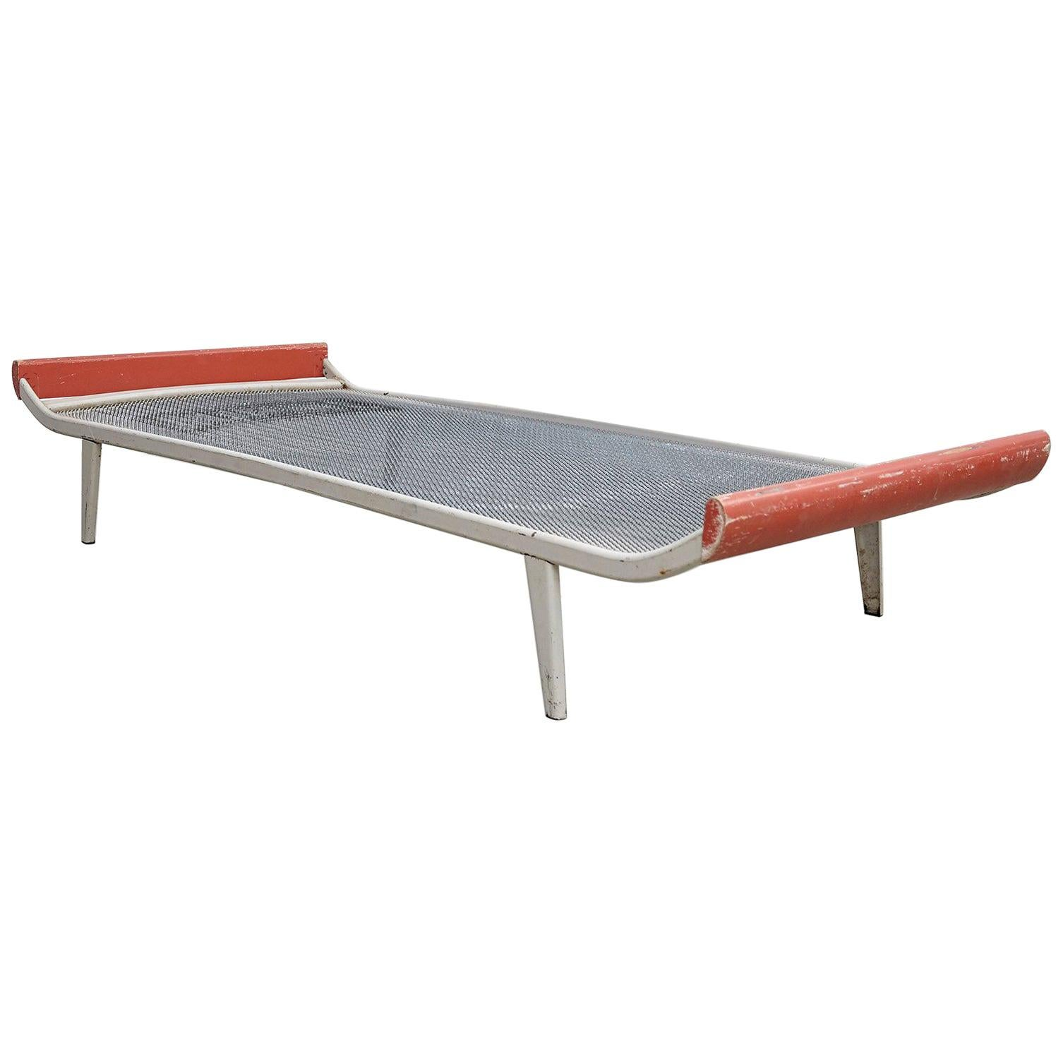 Dick Cordemeijer Mid-Century Modern Metal and Wood Daybed Cleopatra, circa 1950