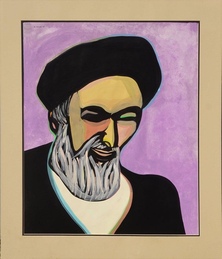 """Dick Crispo Figurative Painting - """"The Return"""" Portrait of Ayatollah Khomeini 1979"""