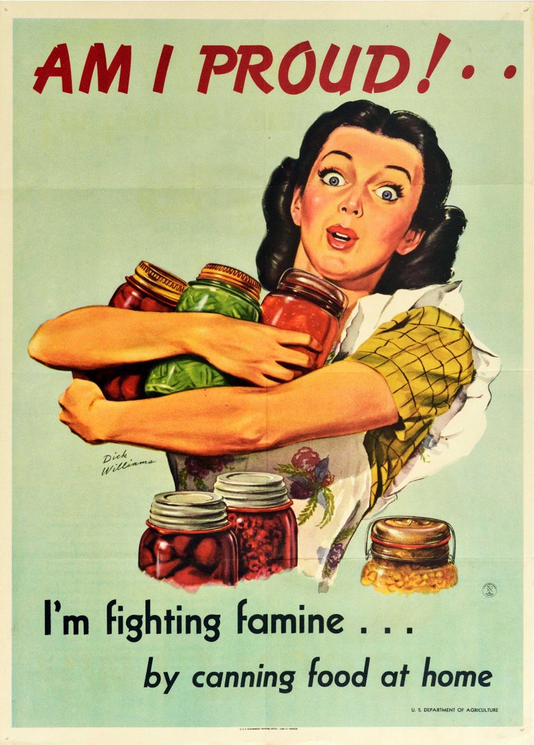 Dick Williams Print - Original Vintage Poster Am I Proud I'm Fighting Famine By Canning Food At Home