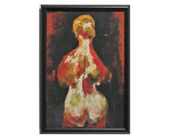 Standing Nude Figure in Orange and Yellow Tones