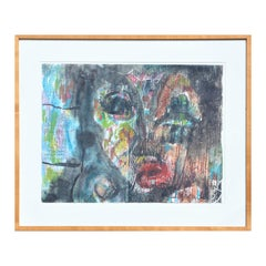 """""""Untitled (Face)"""" Colorful Modern Abstract Mixed Media Portrait Painting"""