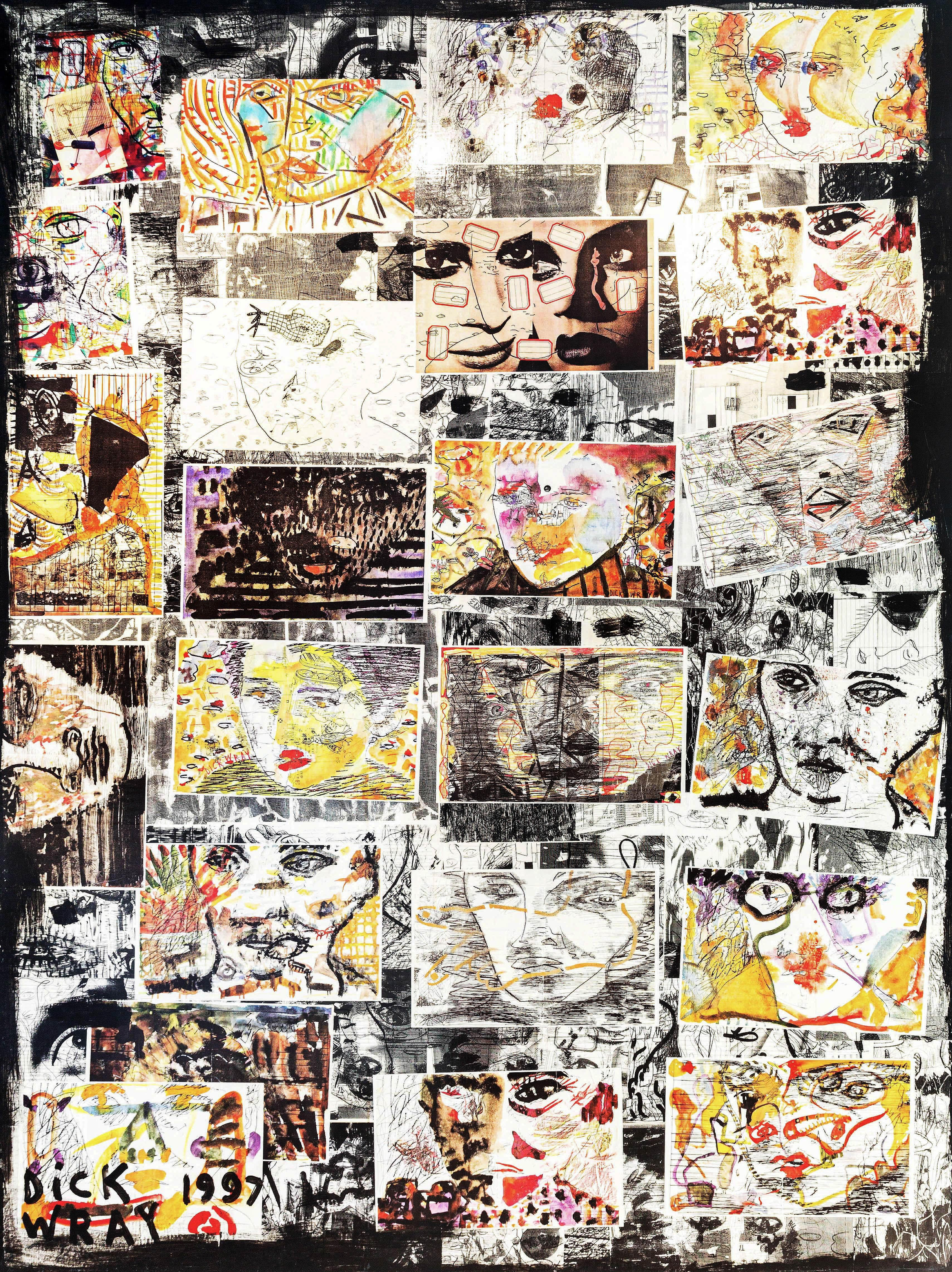 """""""Untitled,"""" Mixed Media on Canvas - Figurative Collage painting"""