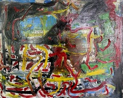 """""""Untitled,"""" Oil, Mixed Media on Canvas - Abstract Impressionist painting"""
