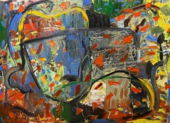"""""""Untitled,"""" Oil, Mixed Media on Wood - Abstract Impressionist painting"""