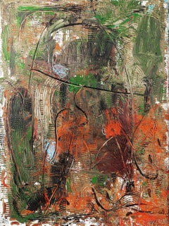 """""""Untitled,"""" Oil, Mixed Media on Wood - Abstract painting"""