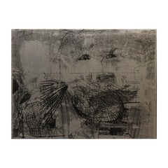 Modern Abstract Expressionist Metal Etching