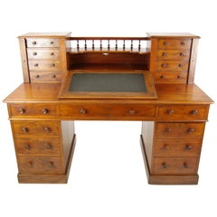 Dickens Desk, Antique Walnut Desk, Slant Front Desk, 1880, Antiques, B1241