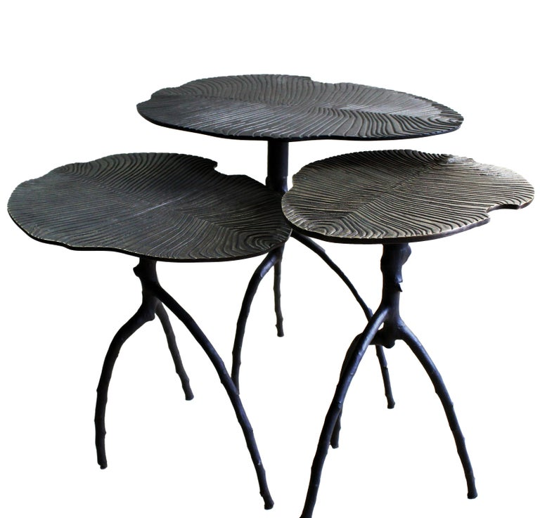 French Dickinsonia Low Table in Bronze Copper Color For Sale