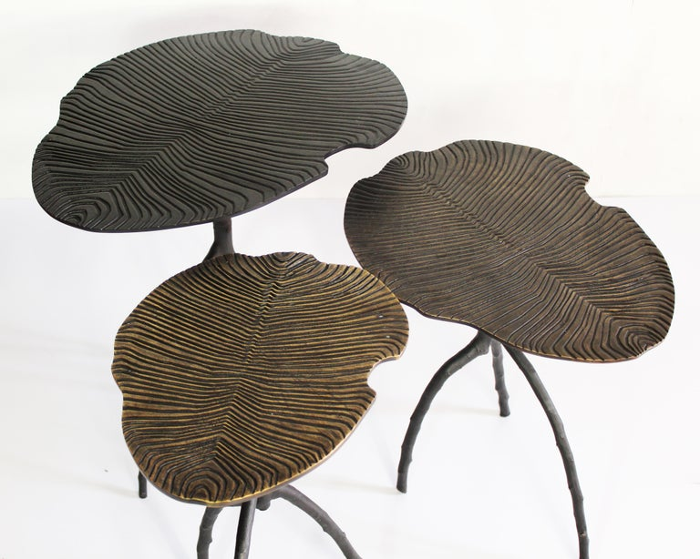 Handmade Dickinsonia Stacking Tables Triptych in Bronze in Stock 3
