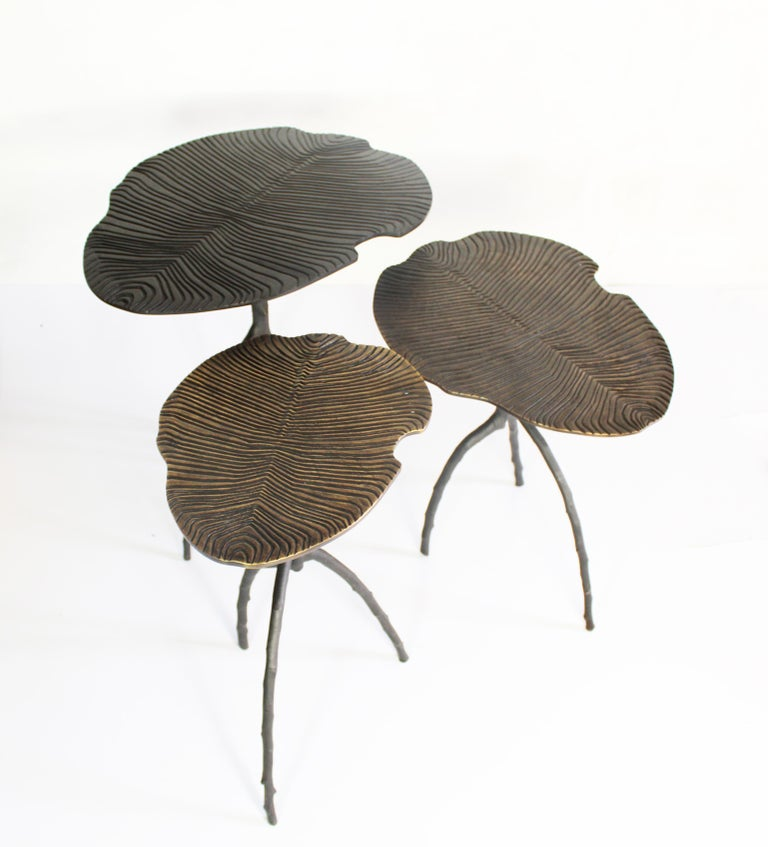 Handmade Dickinsonia Stacking Tables Triptych in Bronze in Stock 4