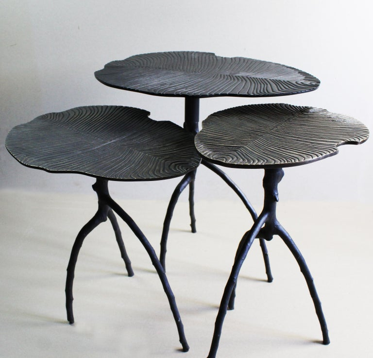Handmade Dickinsonia Stacking Tables Triptych in Bronze in Stock 5