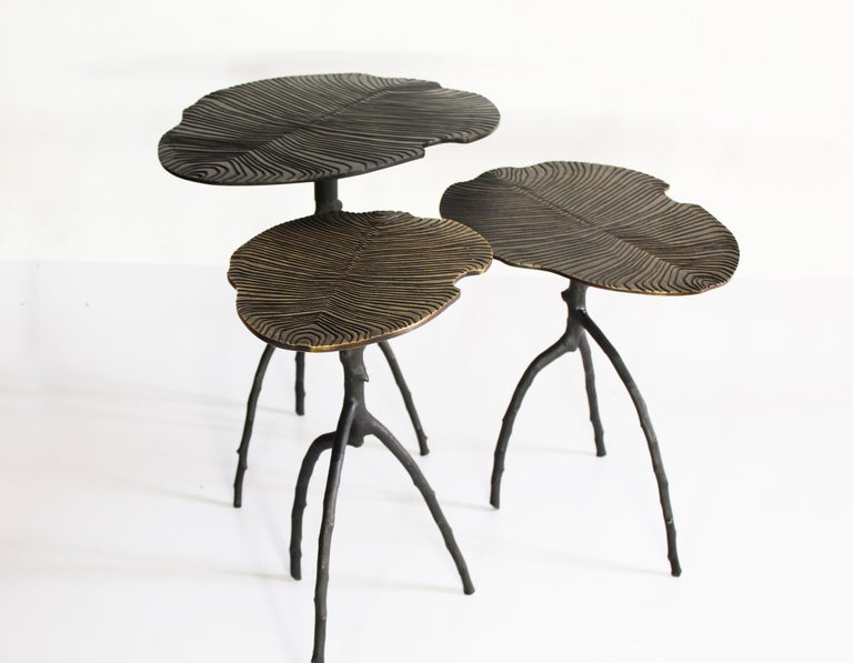 Handmade Dickinsonia Stacking Tables Triptych in Bronze in Stock 6