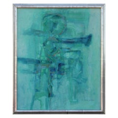 """""""Geraldine Smaragderine"""" Turquoise Expressionist Abstract Painting"""
