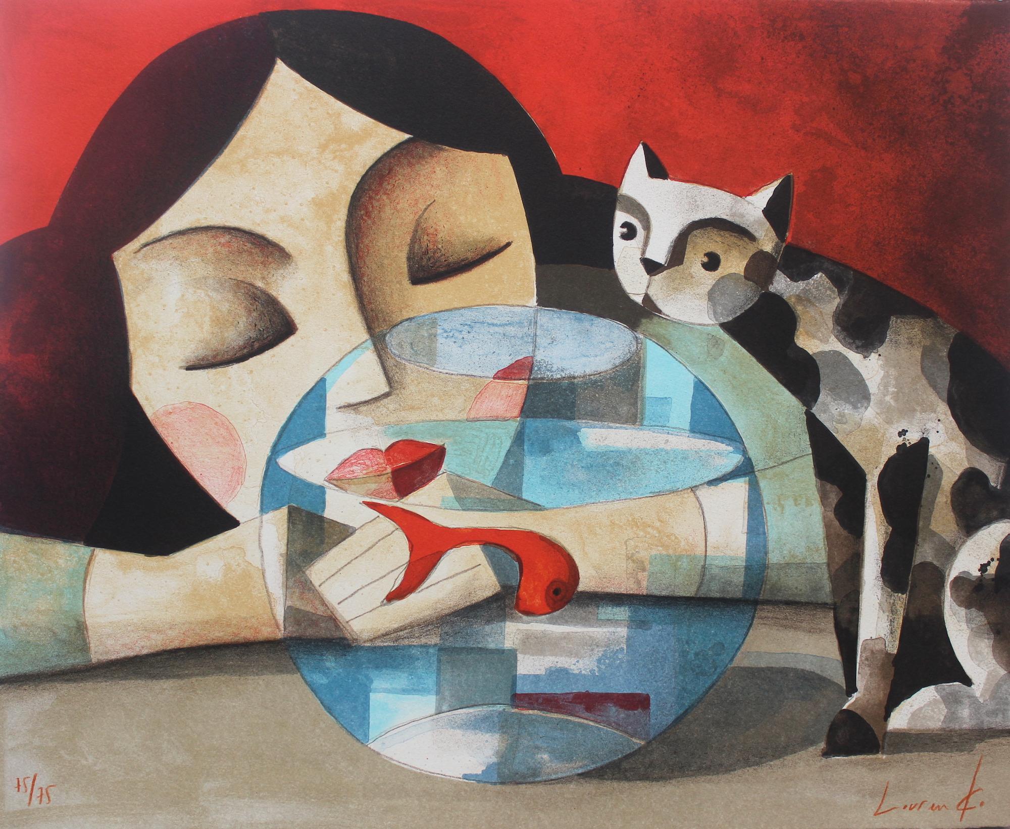 Mientras Duermes (As you sleep) Lithograph by Spanish Artist Didier Lourenço