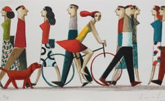 Red Dog - Original Lithograph by Spanish Artist Didier Lourenço