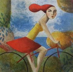 The Ride - Original Lithograph by Spanish Artist Didier Lourenço