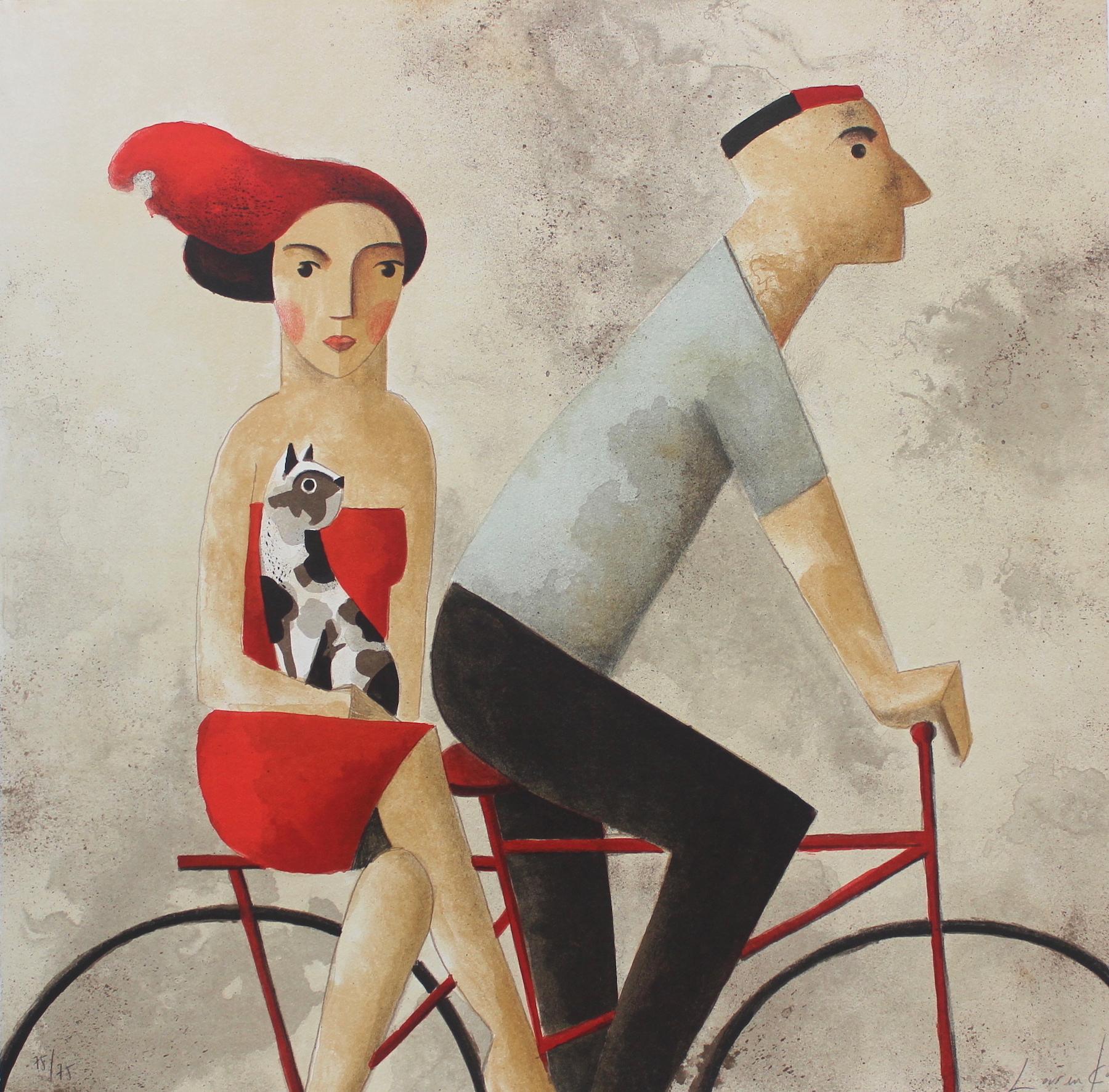 With You - Original Lithograph by Spanish Artist Didier Lourenço