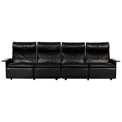 Dieder Rams sofa Model 620 High back and black leather for Vitsoe