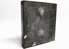 """A Través de los 4 Elementos"": minimalistic textured abstract black painting"