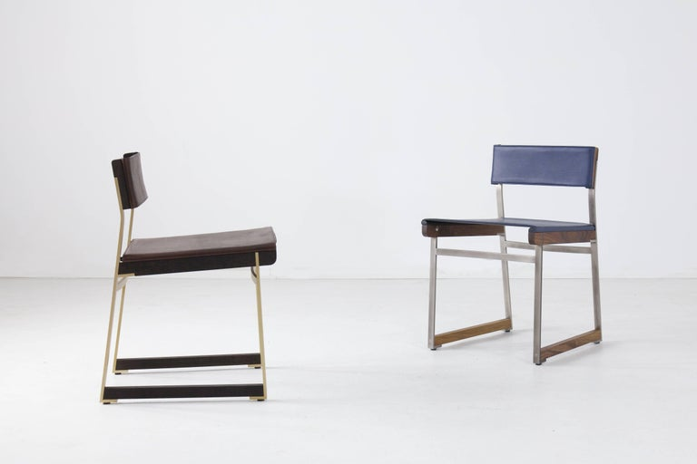 Modern Diego Dining Chair in Leather, American Hardwood and Steel For Sale