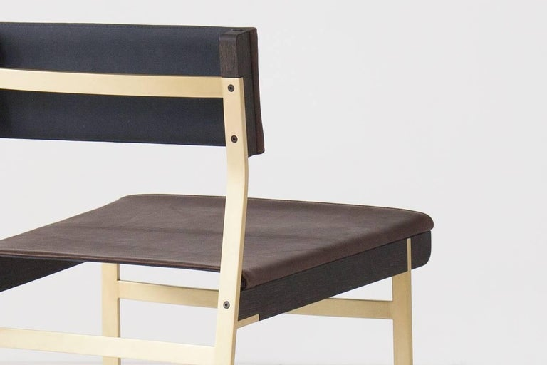 Powder-Coated Diego Dining Chair in Leather, American Hardwood and Steel For Sale