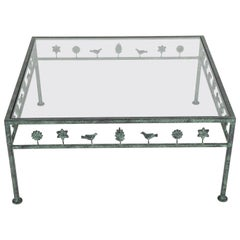 Diego Giacometti Style Iron and Glass Coffee Table