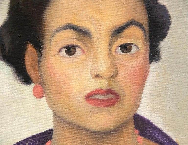 Portrait of Enriqueta G. Dávila - Brown Portrait Painting by Diego Rivera