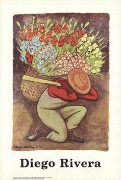 1995 After Diego Rivera 'The Flower Seller' Modernism USA Offset Lithograph