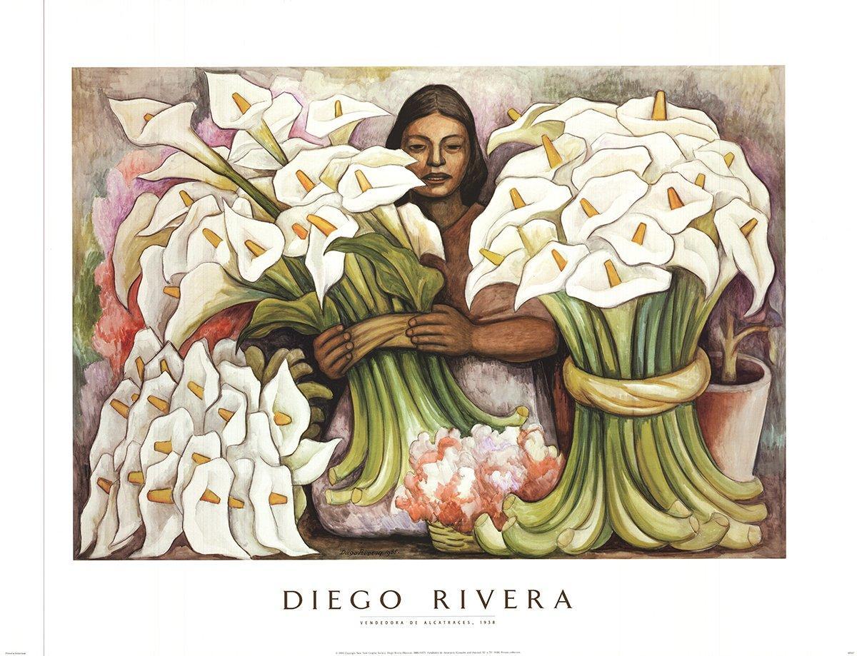 1995 After Diego Rivera 'Vendedora de Alcatraces' Green,White Offset Lithograph