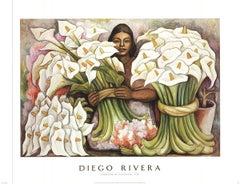 1995 Diego Rivera 'Vendedora de Alcatraces' Green,White Offset Lithograph