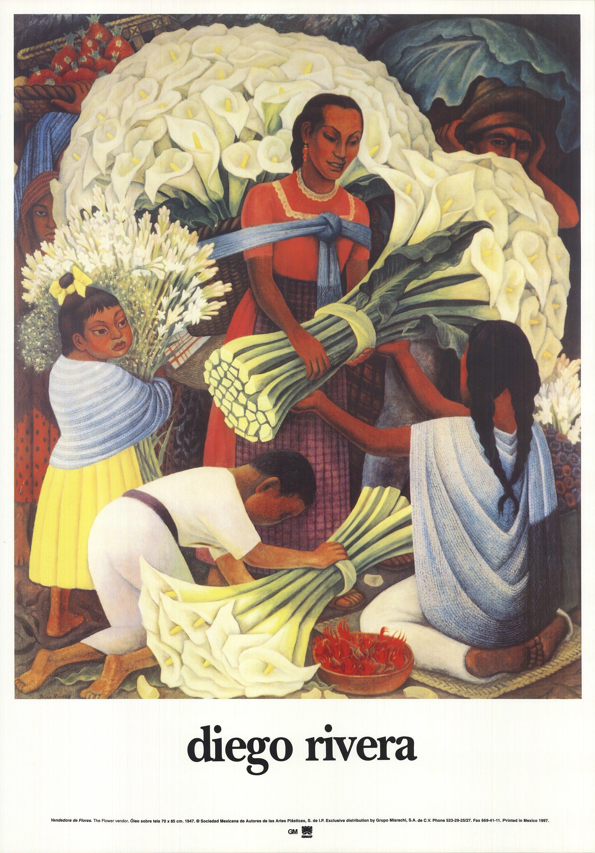 1997 Diego Rivera 'The Flower Vendor' Modernism USA Offset Lithograph