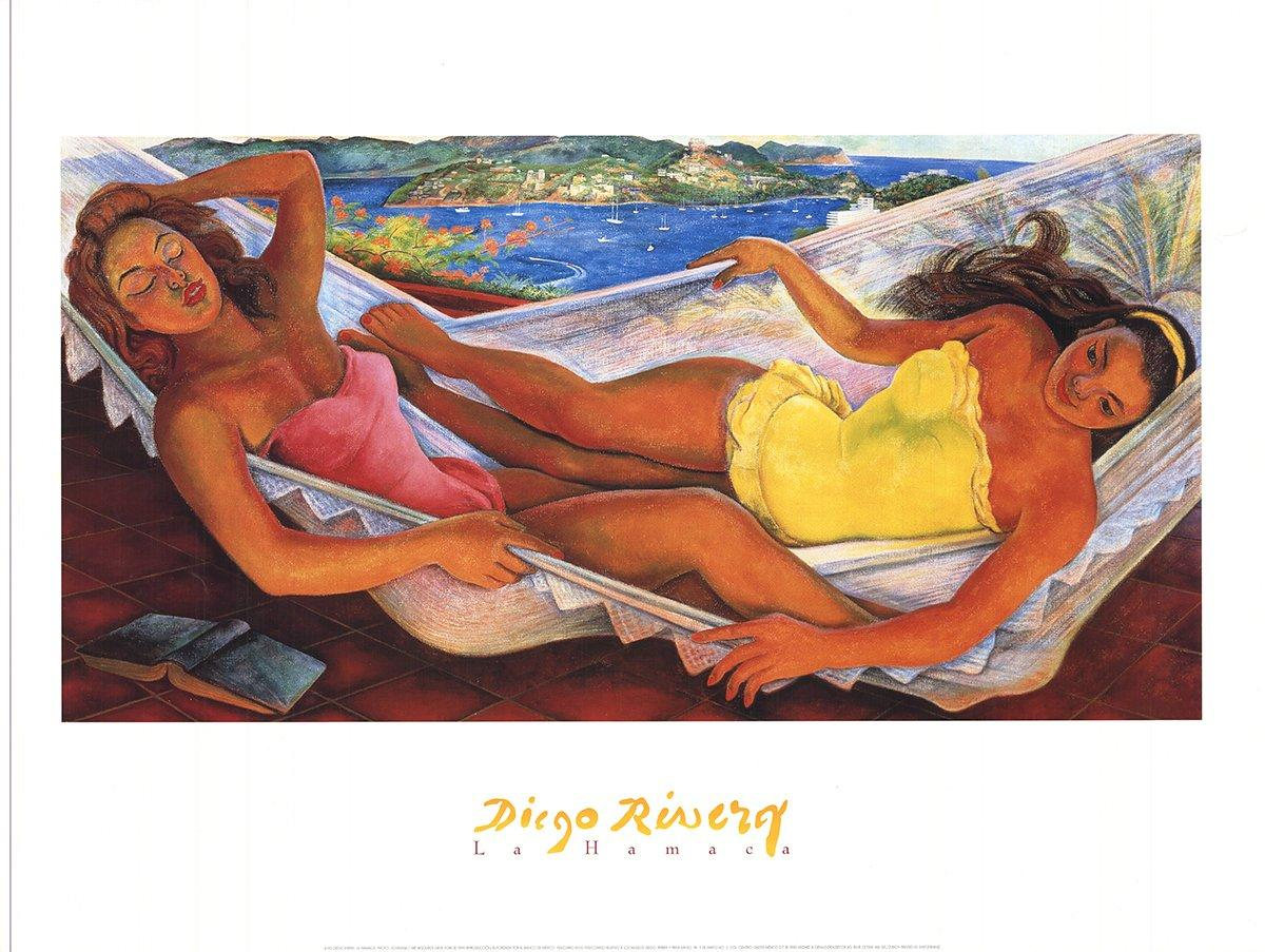 1999 After Diego Rivera 'The Hammock' Pink,Yellow,Brown USA Offset Lithograph