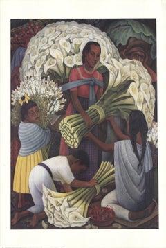 2001 Diego Rivera 'Flower Vendor' Modernism USA Offset Lithograph