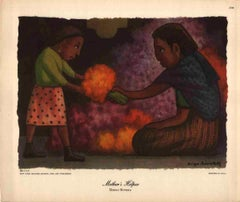 "Diego Rivera-Mother's Helper-8"" x 9.5""-Poster-Purple, Orange-child, daughter"
