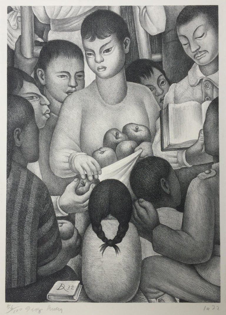 DIEGO RIVERA  (Mexico 1886 – 1957)            FRUITS OF LABOR, 1932           Lithograph, edition 100. Signed & numbered in pencil. Initialed and dated in the stone. Published by Weyhe Gallery, NY. Image 16 ½ x  11 3/4 inches. Good wide sheet, 28