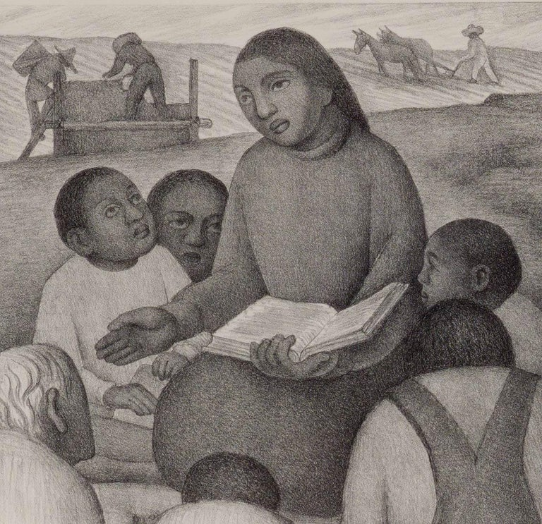 Open Air School (iconic image of indigenous teacher by Mexican muralist) - Print by Diego Rivera