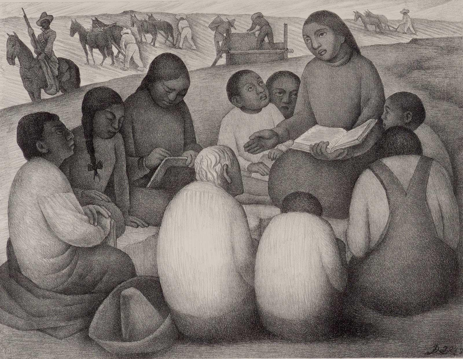 Open Air School (iconic image of indigenous teacher by Mexican muralist)