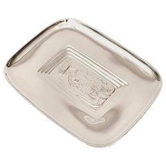 Diego Rivera Style Silver Plate Tray Barware Mid-Century Modern