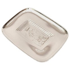 Diego Rivera Style Silver- Plate Tray Barware Mid Century Modern