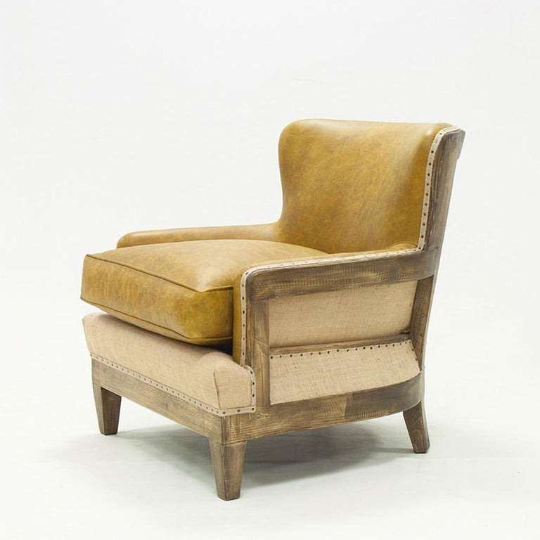 Armchair diesel camel with natural camel genuine Leather and with structure in solid wood. Upholstered and covered with high quality natural genuine leather. Totally handmade piece. Also available with other leather colors on request.