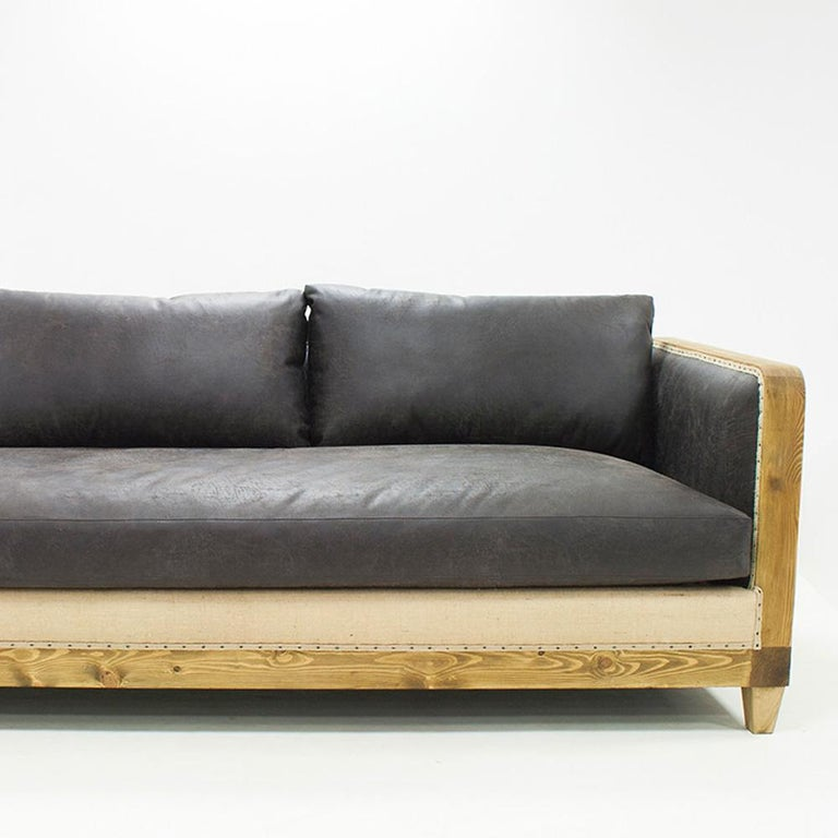 Diesel Grey Sofa Left or Right with grey Vintage Leather In New Condition For Sale In Paris, FR
