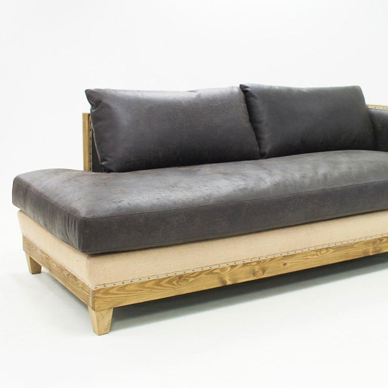 Contemporary Diesel Grey Sofa Left or Right with grey Vintage Leather For Sale