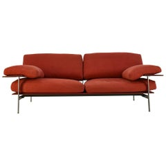 Diesis Sofa, Antonio Citterio & Paolo Nava for B&B Italia Red Leather and Fabric