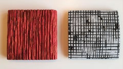 Limestone red & blackwhite diptych - pair of contemporary modern wall sculptures