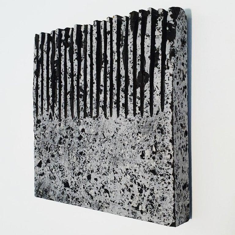 o.T. (Bk15Hf) - grey black contemporary modern wall sculpture painting relief - Black Abstract Sculpture by Dieter Kränzlein