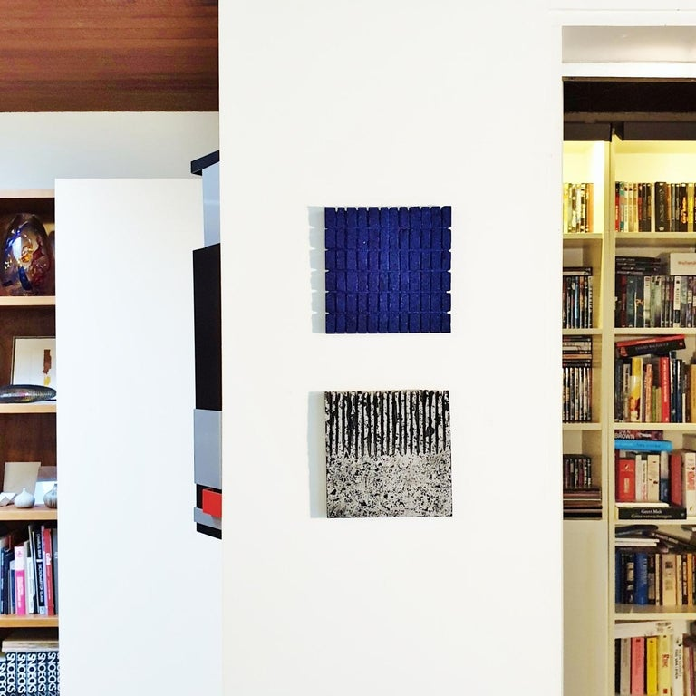 o.T. (Bk15Sq) - black contemporary modern wall sculpture painting relief For Sale 8