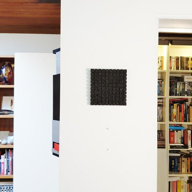 o.T. (Bk15Sq) - black contemporary modern wall sculpture painting relief - Sculpture by Dieter Kränzlein