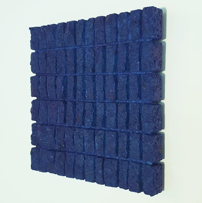 o.T. (Bl15Rc) - blue contemporary modern wall sculpture painting relief - Blue Abstract Sculpture by Dieter Kränzlein