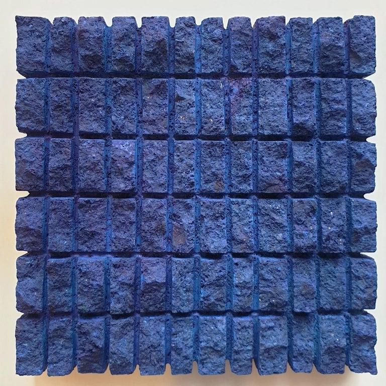 Dieter Kränzlein Abstract Sculpture - o.T. (Bl15Rc) - blue contemporary modern wall sculpture painting relief