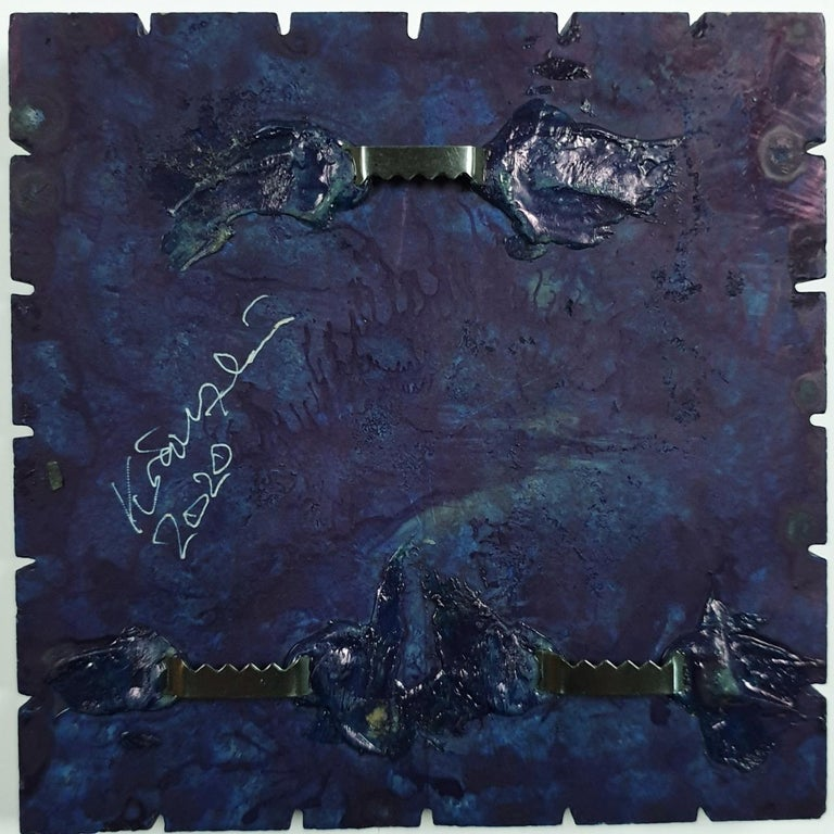 o.T. (Bl15Sq) - grey blue contemporary modern wall sculpture painting relief For Sale 2